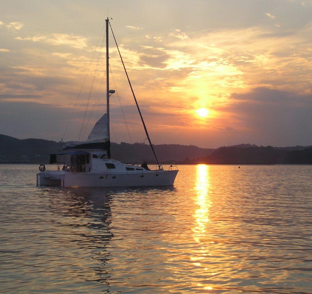 A catamaran sunset in Cape Town